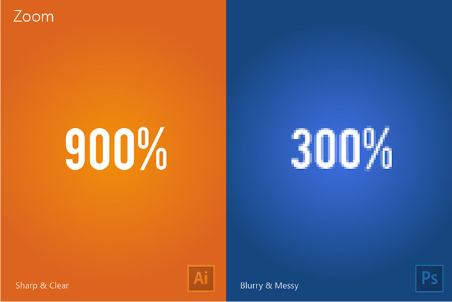 The difference between Illustrator and Photoshop